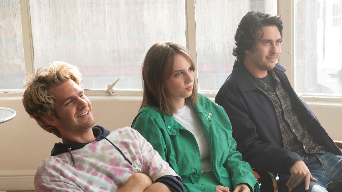 This image released by IFC Films shows Andrew Garfield, from left, Maya Hawke and Nat Wolff in...
