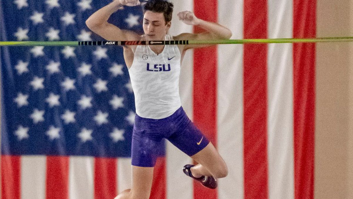 FILE - In this March 8, 2019, file photo, LSU's Mondo Duplantis competes in the men's pole...
