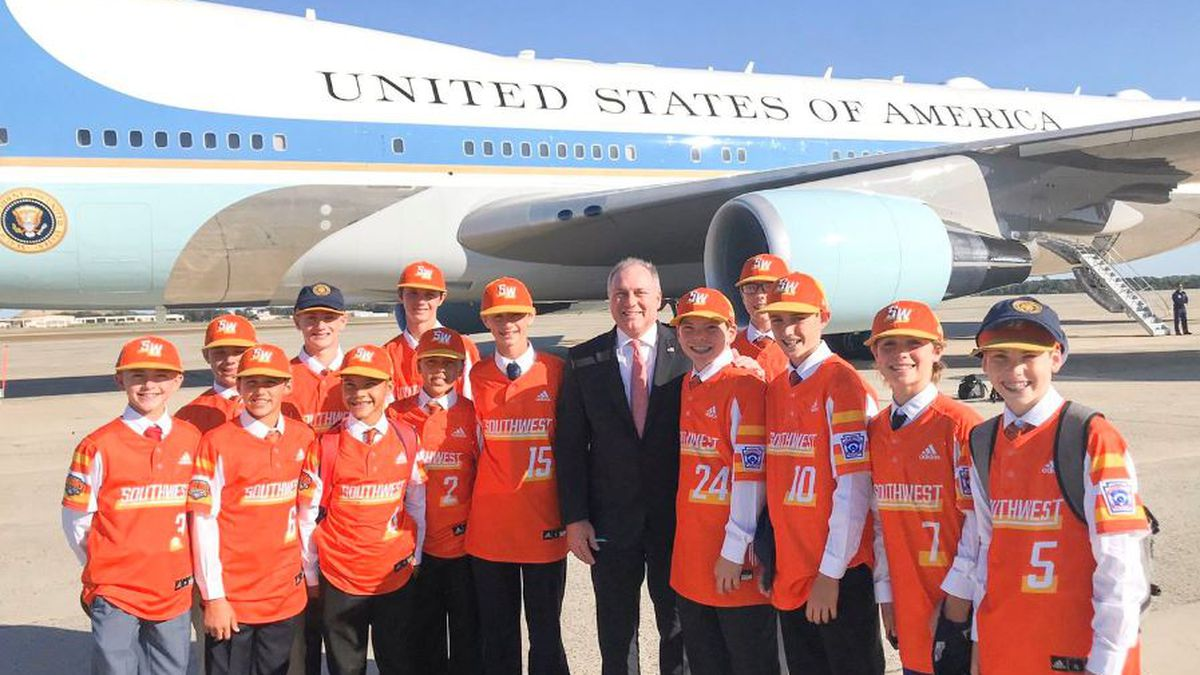 Louisiana Little League World Series championship team -from River Ridge - aboard Air Force One with Pres. Trump | Photo Source: KPLC