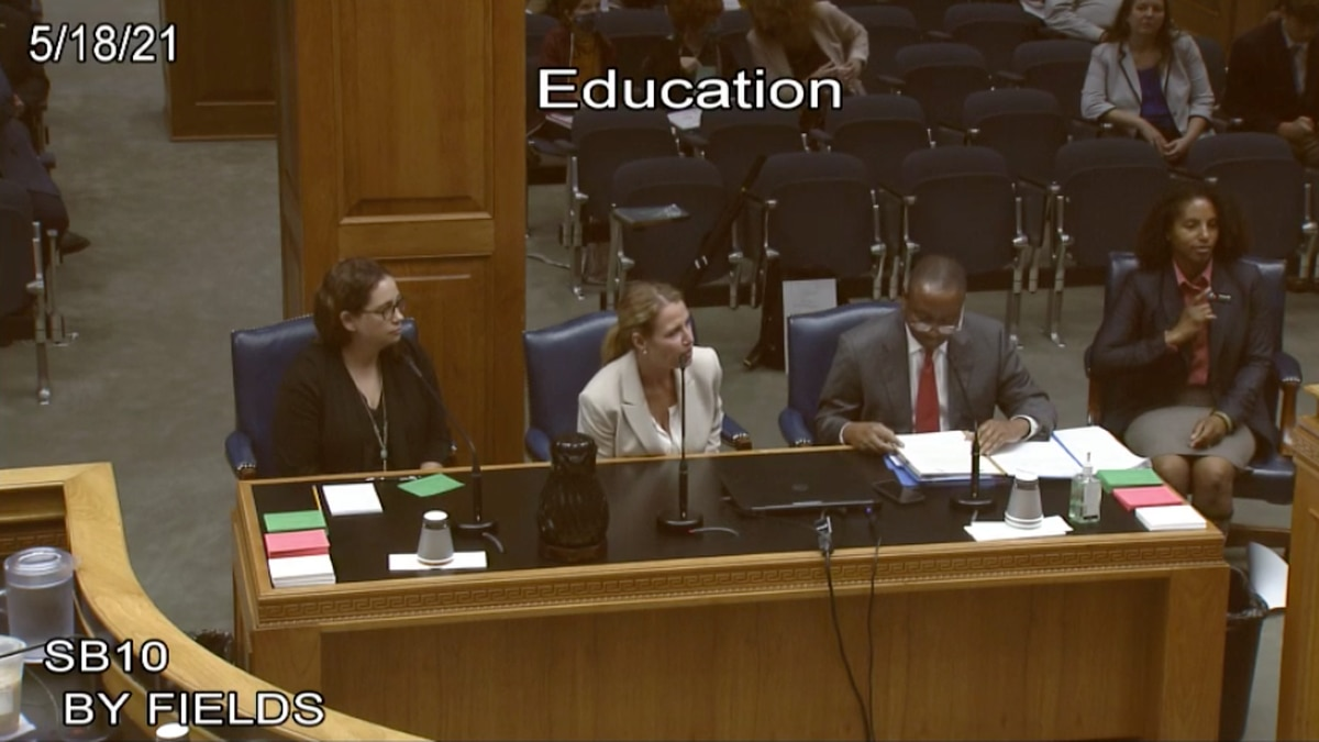 Sen. Cleo Fields with Sarah Vandergriff and Janet Pope advocating for his mandatory...