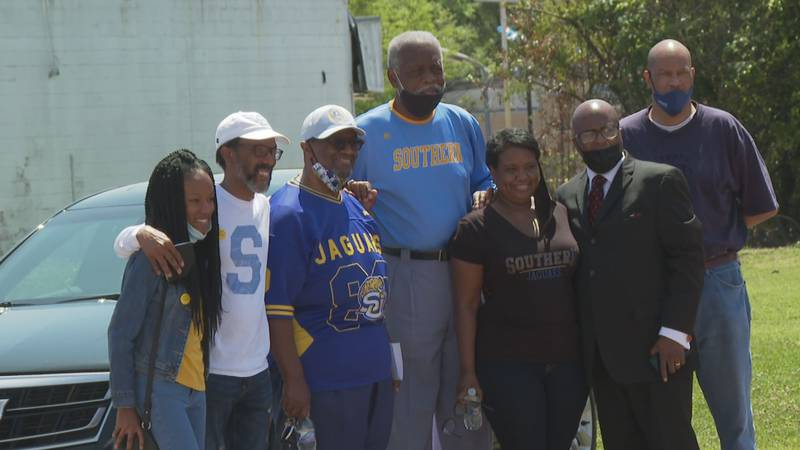 Southernites pose with members of the Mt. Zion Missionary Baptist Church