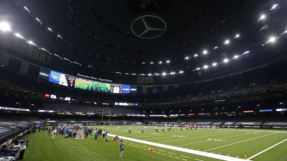 The New Orleans Saints and the Tampa Bay Buccaneers play in the Superdome without fans, due to...