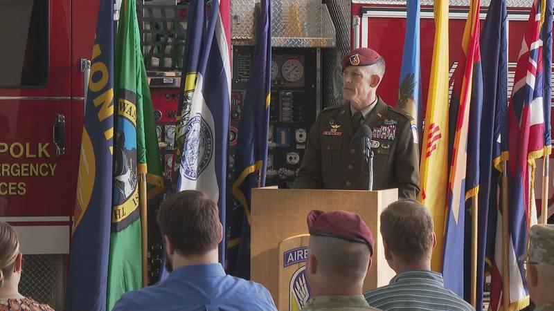 Brigadier General (BG) David Doyle speaking at Fort Polk's 'Patriot Day Never Forget 9/11/01'...