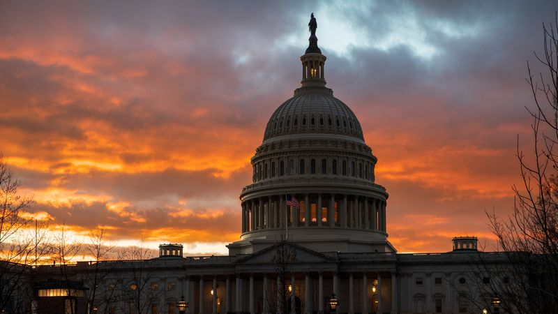 In this Jan. 24, 2019, file photo, the U.S. Capitol at sunset in Washington.