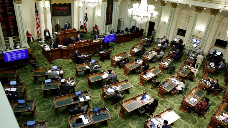 In this May 26, 2020, file photo, members of the state Assembly meet at the Capitol in...