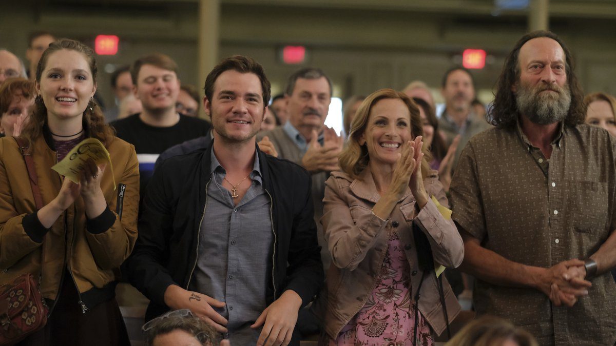 This image released by Apple TV+ shows, from left, Amy Forsyth, Daniel Durant, Marlee Matlin...
