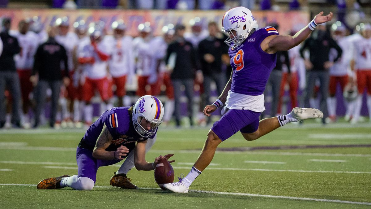 NSU kicker Eddie Godina made a 32-yard field goal, his third of the day, as time expired to...