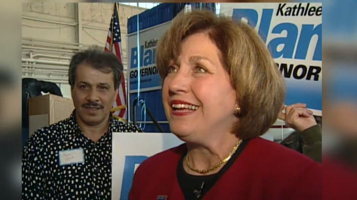 Former Louisiana Governor Kathleen Blanco smiles during a campaign stop in Alexandria before her election in 2003.