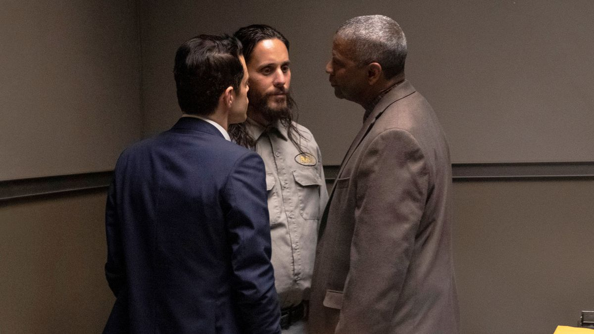 This image released by Warner Bros. Pictures shows Rami Malek, from left, Jared Leto and Denzel...