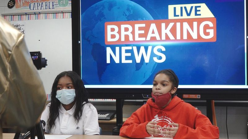 Local elementary school students turn their morning announcements into a school newscast.