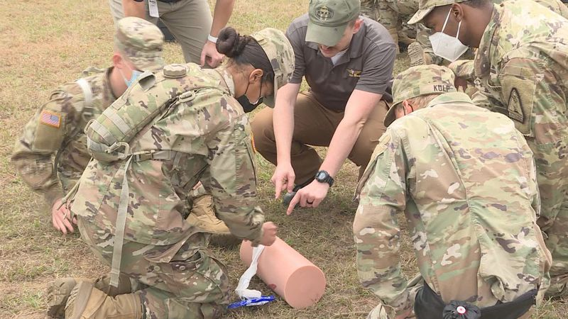 Acadian companies showed the recruits how to effectively use gauzes, tourniquets, and several...