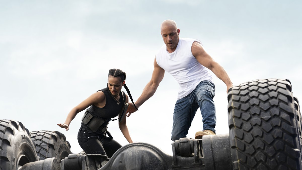 This image released by Universal Pictures shows Nathalie Emmanuel, left, and Vin Diesel in a...