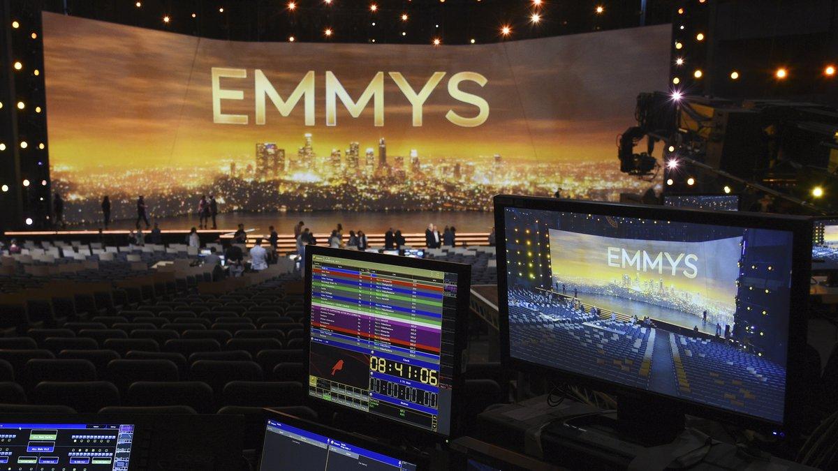 FILE - A video monitor displays the stage for Sunday's 71st Primetime Emmy Awards during Press...
