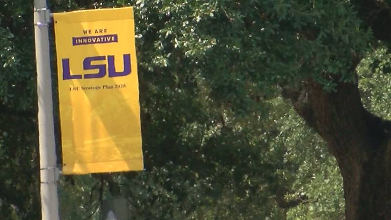 An lamp flag at LSU in Baton Rouge, La.