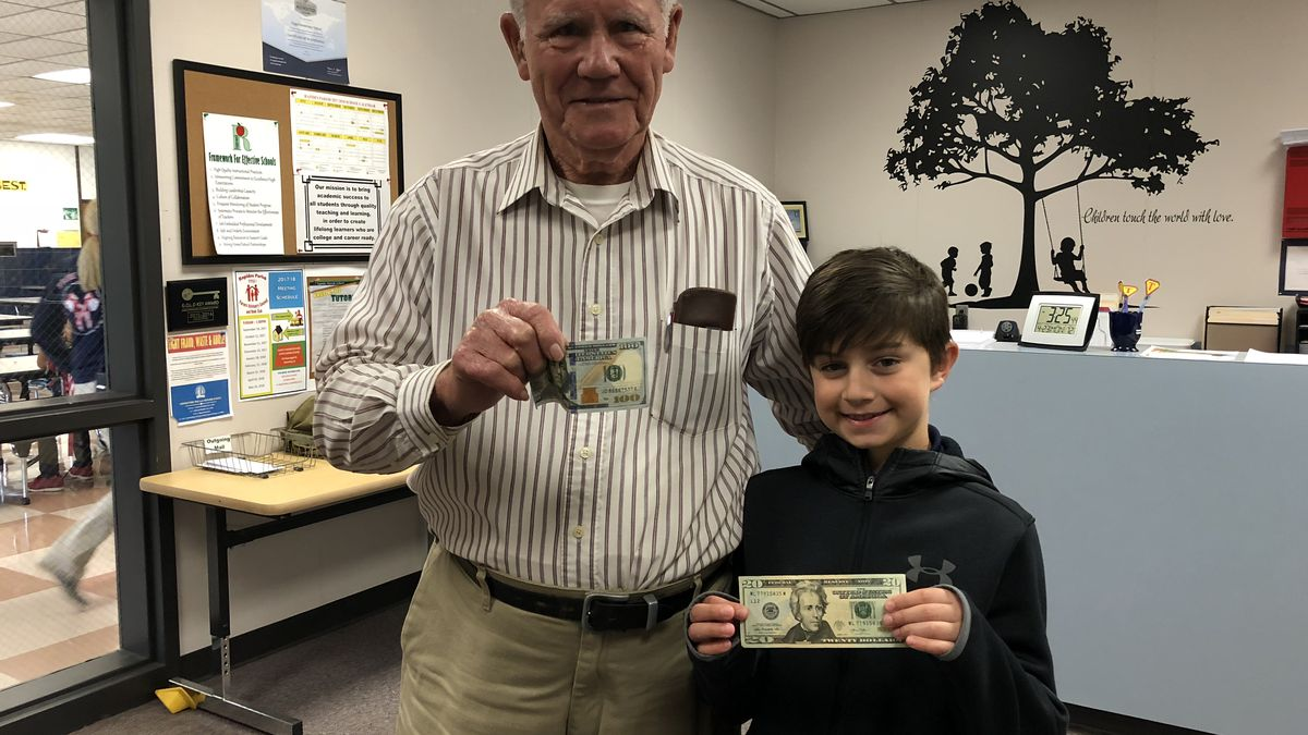 James Grice (86) and Jaron Johnson (8).  on Friday, Jaron found $100 at the Pineville Walmart that belonged to James.  In return, James gave the boy some money and said he could stop by his house to get fresh tomatoes whenever he wants.<br />(KALB)