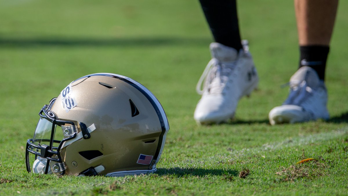 A New Orleans Saints helmet during an NFL football training camp practice at the Ochsner Sports...