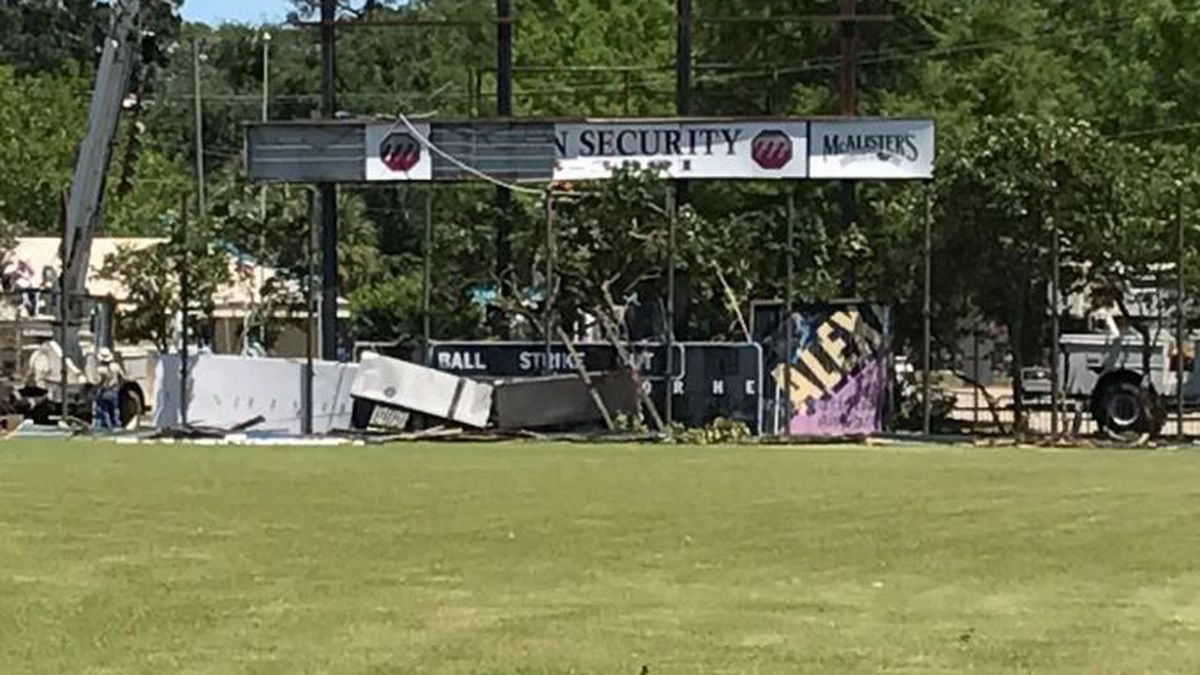 City of Alexandria tears down the scoreboard at Bringhurst Field on May 2, 2017.