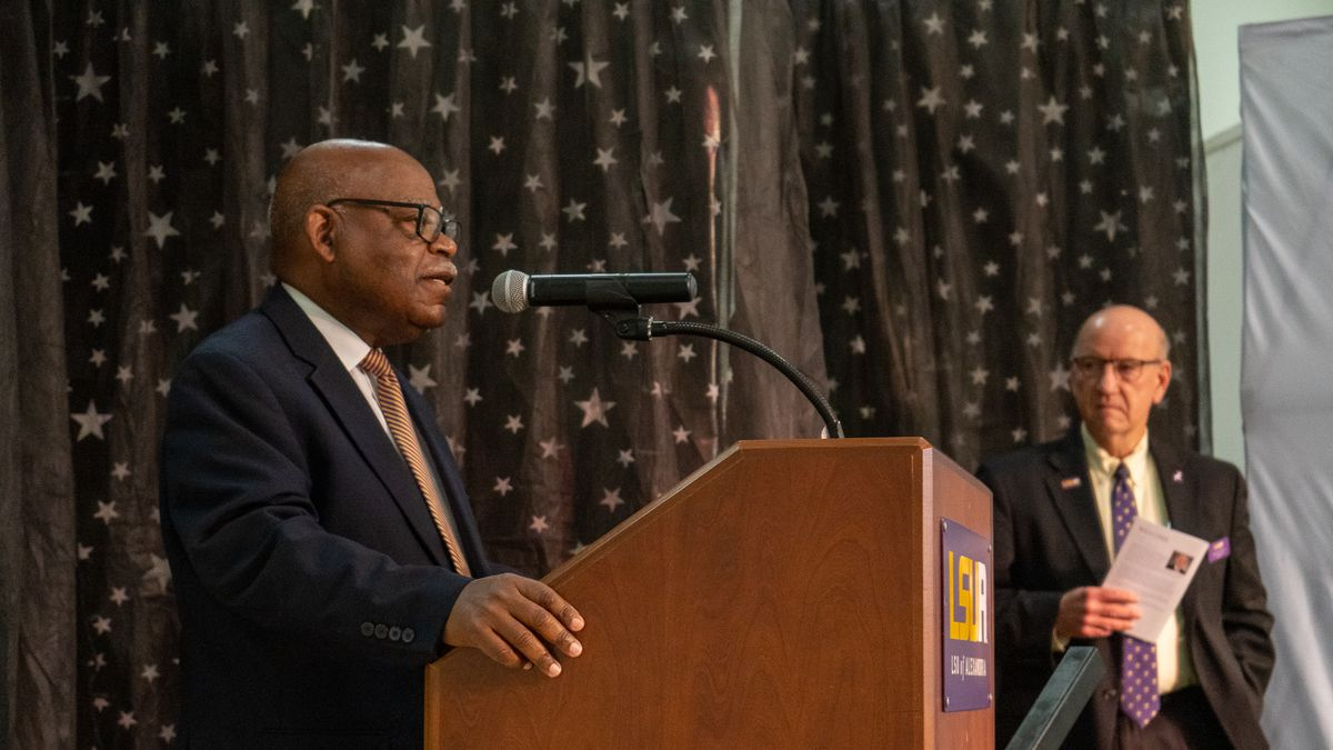 Dr. Haywood Joiner speaks at the annual Employee Recognition Dinner.