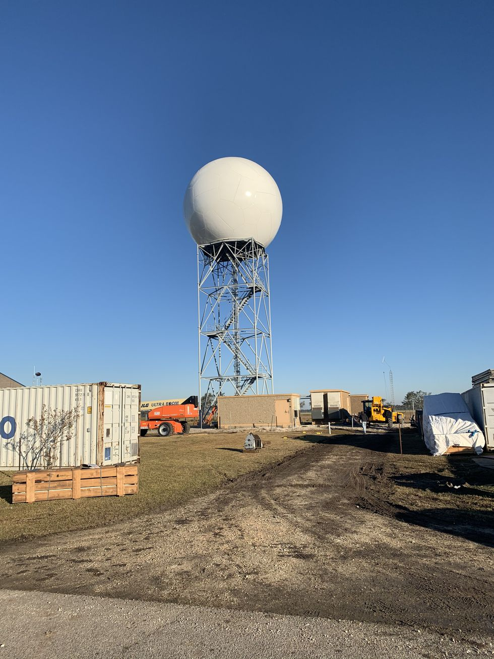 The repaired radome at NWS Lake Charles on December 7, 2020. Electronic parts inside need to be...