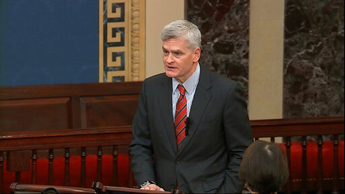 In this image from video, Sen. Bill Cassidy, R-La., speaks on the Senate floor about the...