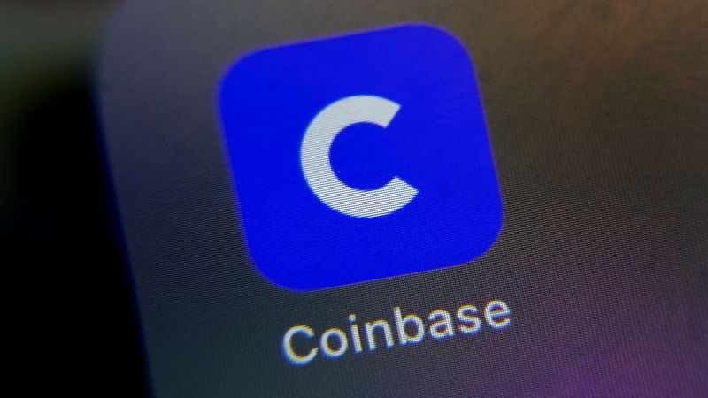 The mobile phone icon for the Coinbase app is shown in this photo, in New York, Tuesday, April...