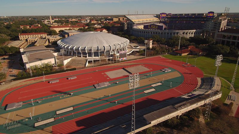 File photo of the Bernie Moore Track,  PMAC, Tiger Stadium on the LSU campus in Baton Rouge, La.