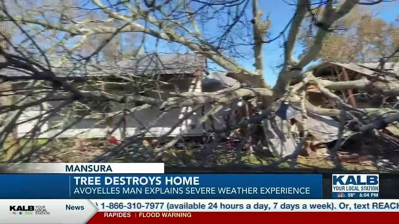 Recent severe weather caused a tree to fall on and destroy a home in Mansura.