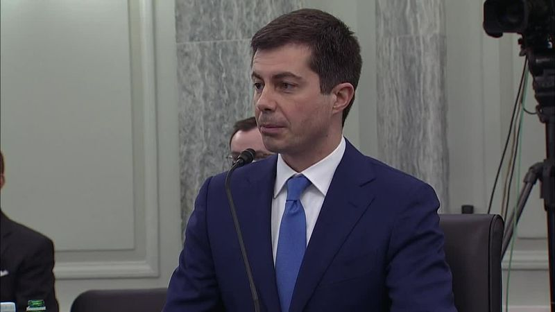 Department of Transportation nominee Pete Buttigieg is testifying during a Senate committee...