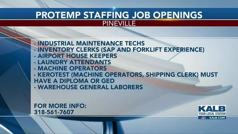 ProTemp Staffing Job Openings available right now in Cenla.