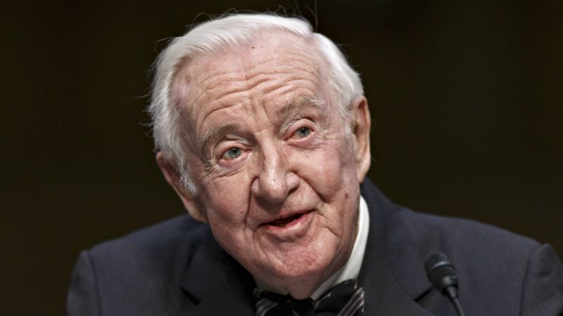 FILE - In this April 30, 2014, file photo, retired Supreme Court Justice John Paul Stevens...