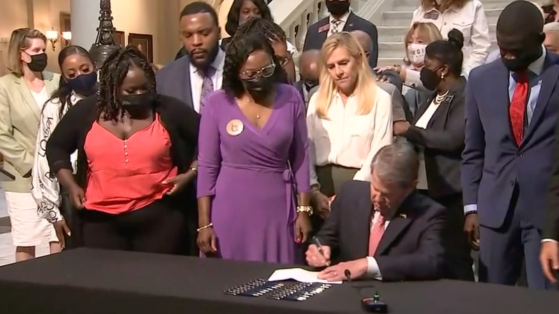 Gov. Brian Kemp signs a bill repealing Georgia's citizen's arrest law.
