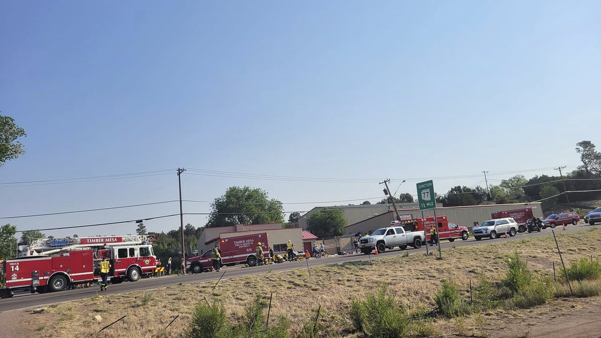 This Saturday, June 19, 221, photo released by the Timber Mesa Fire and Medical District shows...