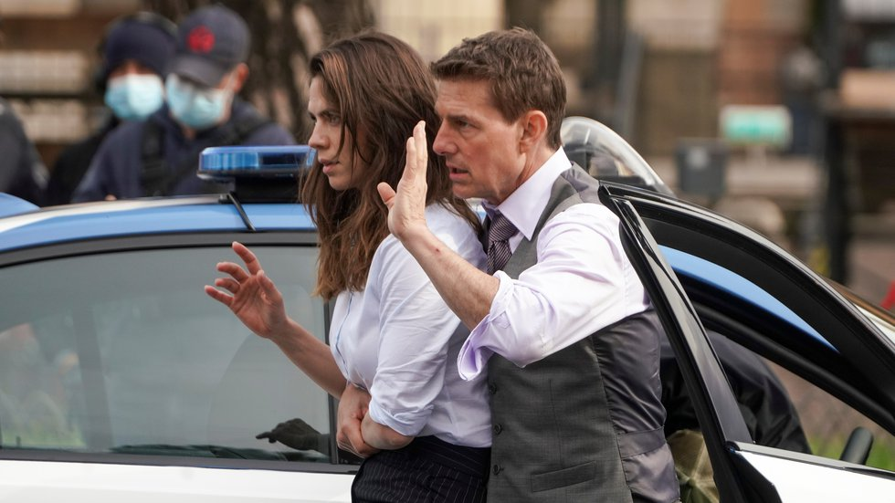 Actors Tom Cruise, right, and Hayley Atwell perform during the shooting of the film Mission...