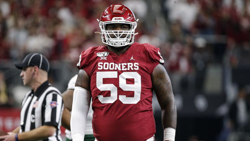 Oklahoma offensive lineman Adrian Ealy (59) during the Big 12 Championship game against Baylor...