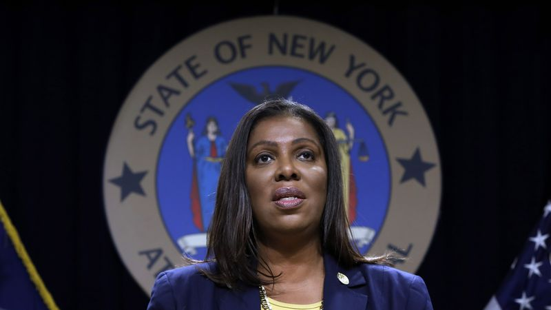 FILE - In this Nov. 19, 2019 file photo, New York State Attorney General Letitia James speaks...