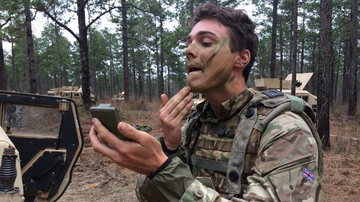British soldier preparing for a mission at Fort Polk's Joint Readiness Training Center.<br...