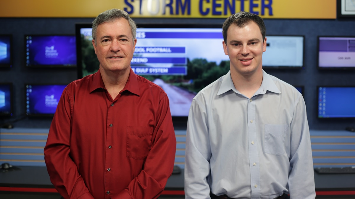 Chief meteorologist Tom Konvicka and KALB new Nightside meteorologist Barrett Phillips (KALB).