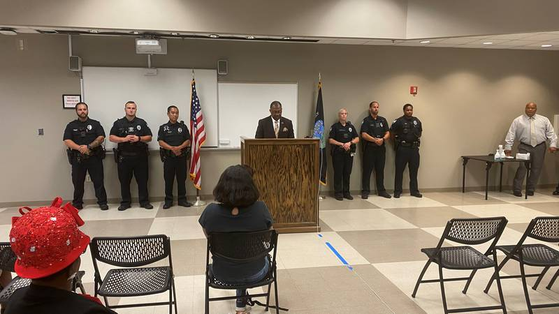 Alexandria Mayor Jeff Hall holding a press conference at the Alexandria Police Department to...