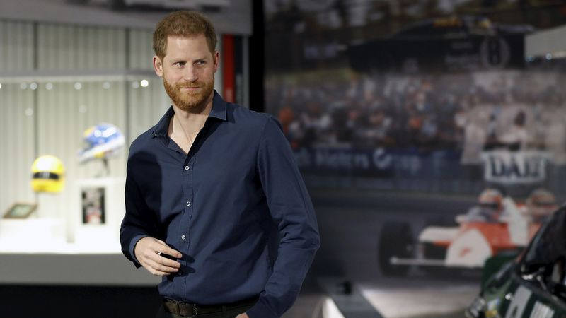 In this Friday March 6, 2020, file photo, Britain's Prince Harry visits the Silverstone...