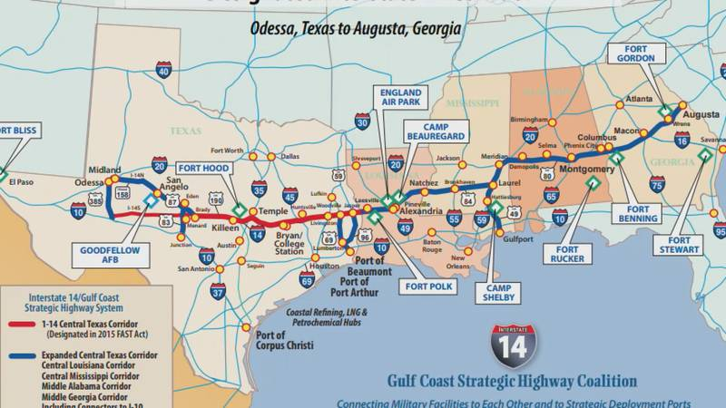 A map of the proposed I-14 corridor path.