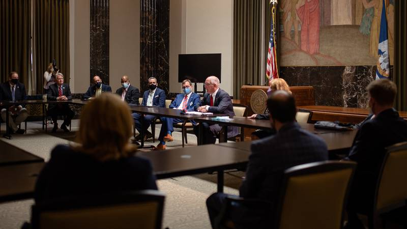 Local officials and Gov. John Bel Edwards discuss the state budget and bills circulating in the...