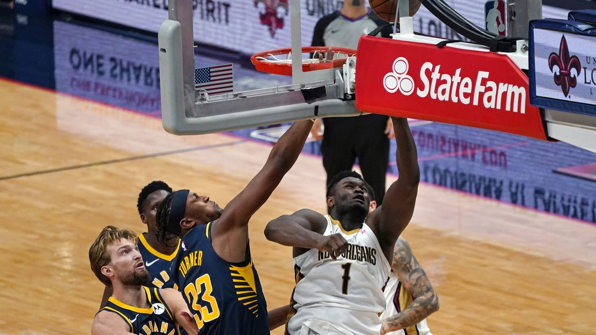 New Orleans Pelicans forward Zion Williamson (1) shoots against Indiana Pacers forward Myles...