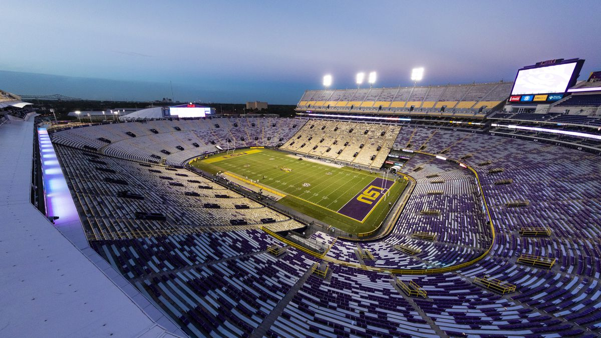 General view of the interior of Tiger Stadium from an elevated position after an NCAA football...