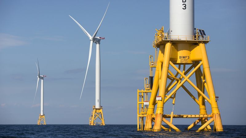 FILE - In this Aug. 15, 2016 file photo, three of Deepwater Wind's five turbines stand in the...