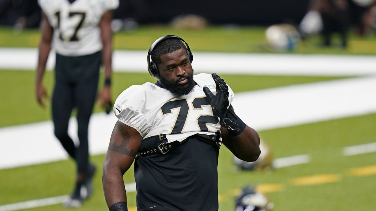 New Orleans Saints offensive tackle Terron Armstead (72) warms up during NFL football practice in New Orleans, Thursday, Sept. 3, 2020. (AP Photo/Gerald Herbert, Pool)