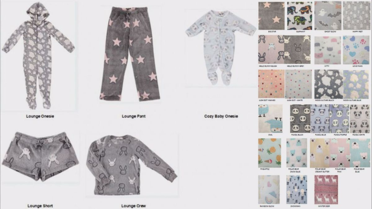 Five different styles of Ragdoll & Rockets children's pajamas have been recalled for...