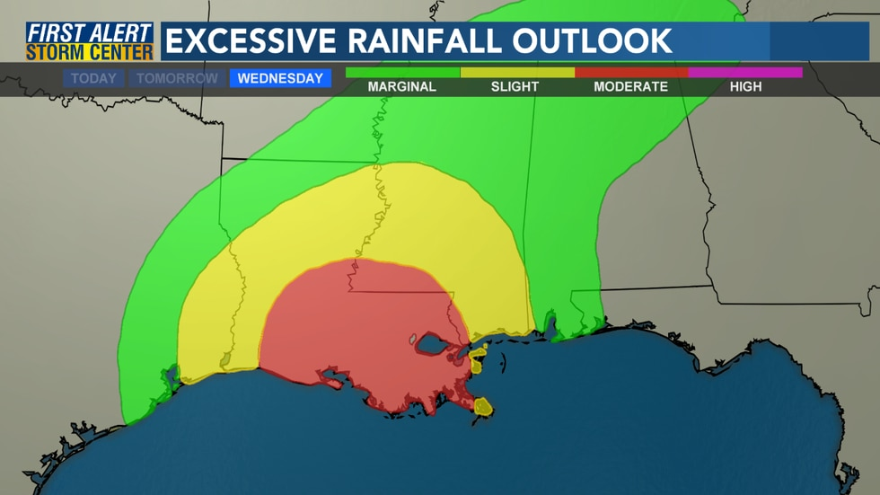 The Excessive Rainfall Outlook calls for a slight to moderate chance of excessive rainfall on...