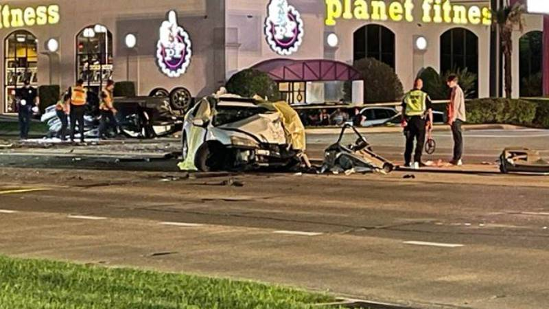 One person was killed and two were hurt in a rollover accident involving four vehicles in front...