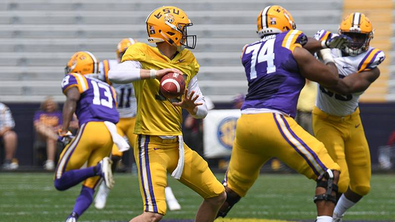 LSU quarterback Myles Brennan is going against Max Johnson for the starting job.