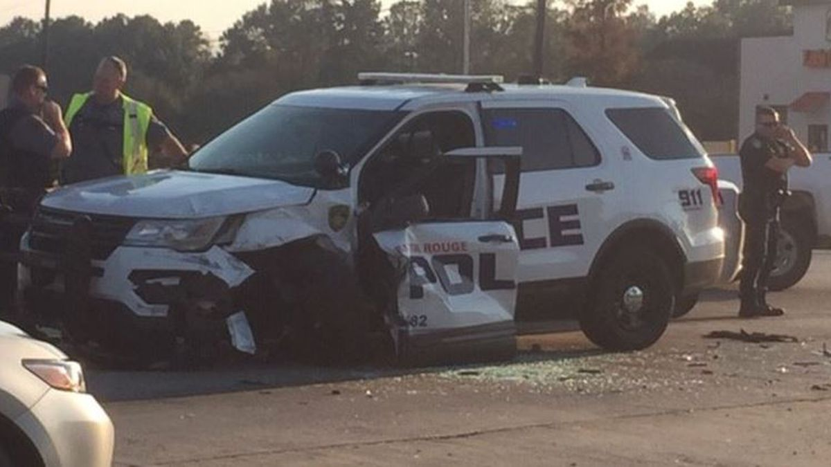 A Baton Rouge Police Department patrol unit was hit head-on around 3 p.m. on Nov. 18, 2019, in Central, La. (Source: WAFB)